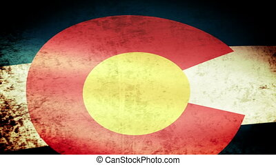 Colorado State Flag Waving, grunge look