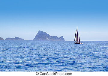 Ibiza Red sails sailboat in Es Vedra