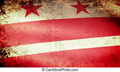 District of Columbia Flag Waving, grunge look