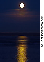 Before a dawn - The night moon over gulf of Finland