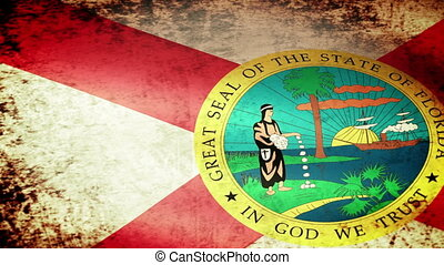 Florida State Flag Waving, grunge look