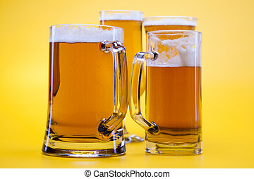 Beer glass - Beer glass with yellow background