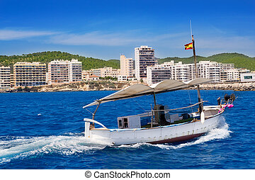 Ibiza boats in San Antonio de Portmany bay at Balearic...