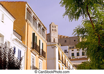 Ibiza town Eivissa houses and hig up church in balearic...