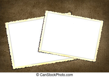 Vintage scrapbook snapshots - Pair of old snapshot frames on...