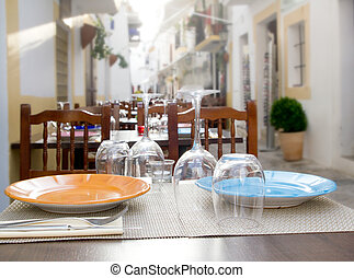 Ibiza island downtown restaurant table - Ibiza island...