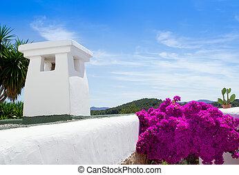 Ibiza white houses and flowers in Sant Miquel de Balansat