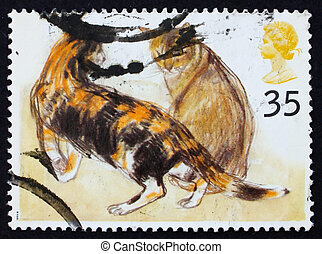Postage stamp GB 1995 Abyssinian cats