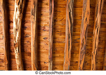 Ibiza wooden roof and beams architecture detail