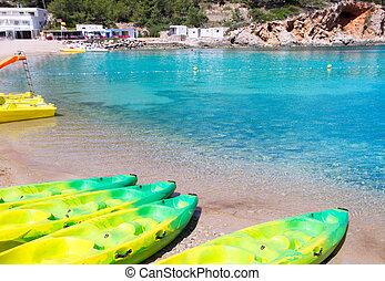 Ibiza Port de San Miquel San Miguel beach with turquoise...
