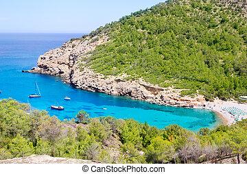Ibiza Port de Benirras beach turquoise color - Ibiza Port de...