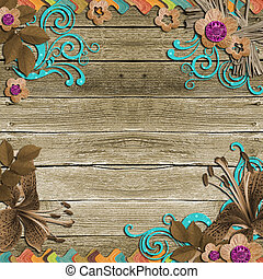 Vintage Background with frames and flowers