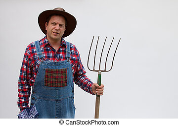 Hillbilly or farmer with pitchfork. - Hillbilly or farmer...