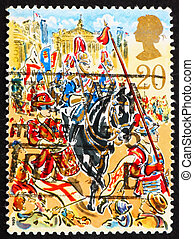 Postage stamp GB 1989 Drummer, cavalryman and the Law Courts