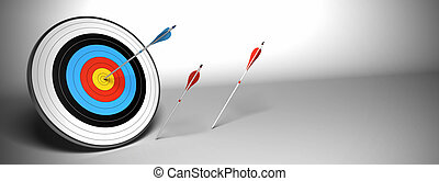 Target arrow over a gray background - Target and arrow over...