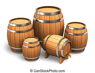 Set of wooden barrels isolated on white background