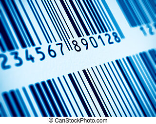 Macro view of barcode - Macro view of blue barcodes with...