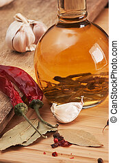 bottle with marinade and spices