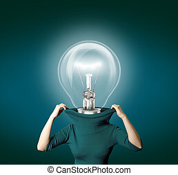 bulb head - woman with bulb head isolated on different...