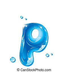 Water Liquid Letter -Small Letter p - Liquid Alphabet Gel...