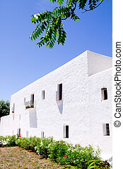Ibiza white church in Sant Carles Peralta San Carlos...
