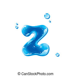 Water Liquid Letter -Small Letter z - Liquid Alphabet Gel...