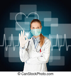 doctor woman with electrocardiogram on touch screen