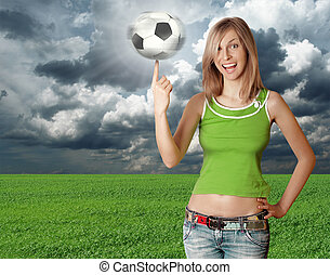 happy girl with soccer ball on blue sky - happy girl with...