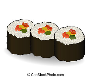 three rolls sushi on white background