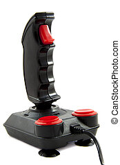 Joystick - Black and red joystick isolated over white