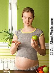 grávida, mulher, escolher, entre, pílulas,...