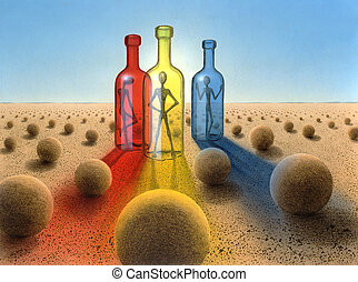 three bottles in surreal desert ambiance - surreal picture...