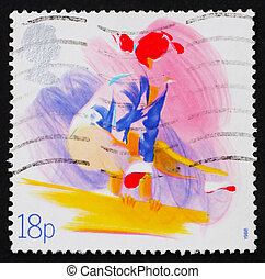 Postage stamp GB 1988 Woman on Balance Beam - GREAT BRITAIN...