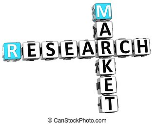 3D Research Market Crossword on white background