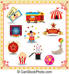 Funy circus icons - fun circus icons for you Each element is...