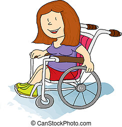 Handicapped girl - A handicapped woman in a Wheelchair.