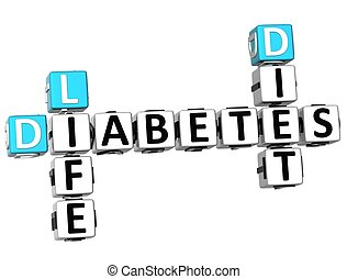 3D Diabetes Life Diet Crossword on white background