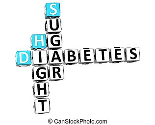 3D Diabetes Hight Sugar Crossword on white background