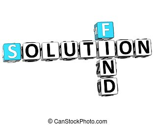 3D Find Solution Crossword on white background