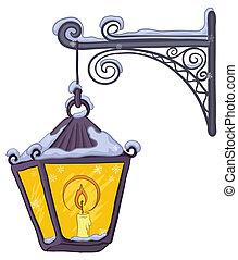 Vintage lantern - Vintage street lamp glowing in the snow,...