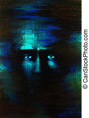 fearful eyes - picture painted by me named In mind X, it...