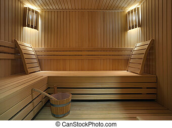 Sauna  - Interior of a hotel sauna, modern wooden design.
