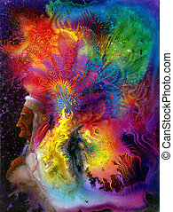 colorful indian headdress - Picture painted by me, named Don...
