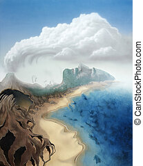 surreal faces in a virtual landscape - picture painted by...