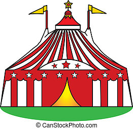 big top in the grass - Circus tent illustration