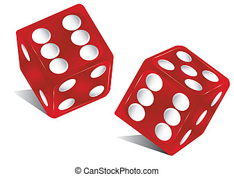 two red dice - the die is cast
