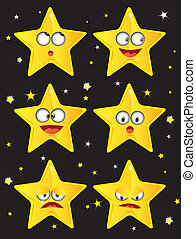 stars - set of smiley faces shape of star
