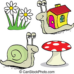 Snails - Set of two snails, fowers and poisonous fungus