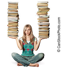 woman in lotus pose with many books in her hands isolated on...