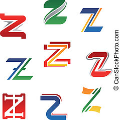 Alphabet letter Z - Set of alphabet symbols and elements of...